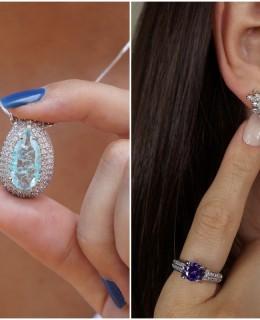 Semi joias com pedras naturais
