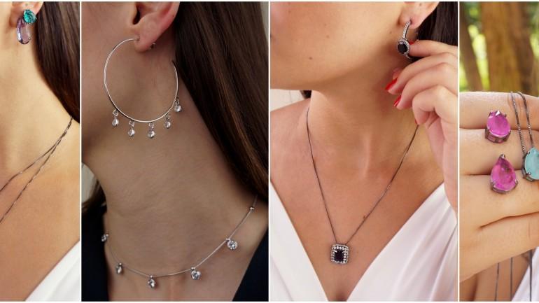 Conjunto de joias – Colares e brincos prontos para amar